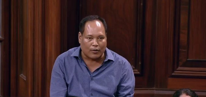 Rajya Sabha MP from Assam and Bodo People's Front leader Biswajit Daimary spoke in his mother tongue as he addressed the Upper House. Photo Courtesy: RSTV