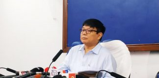 Leader of the opposition in the Assam Legislative Assembly Debabrata Saikia addressing a press conference in Guwahati on August 2, 2019. Photo: TIME8