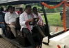 Assam Forest Minister Parimal Suklabaidya flagged off battery-operated cars, also known as golf carts, for the Assam State Zoo Cum Botanical Garden visitors